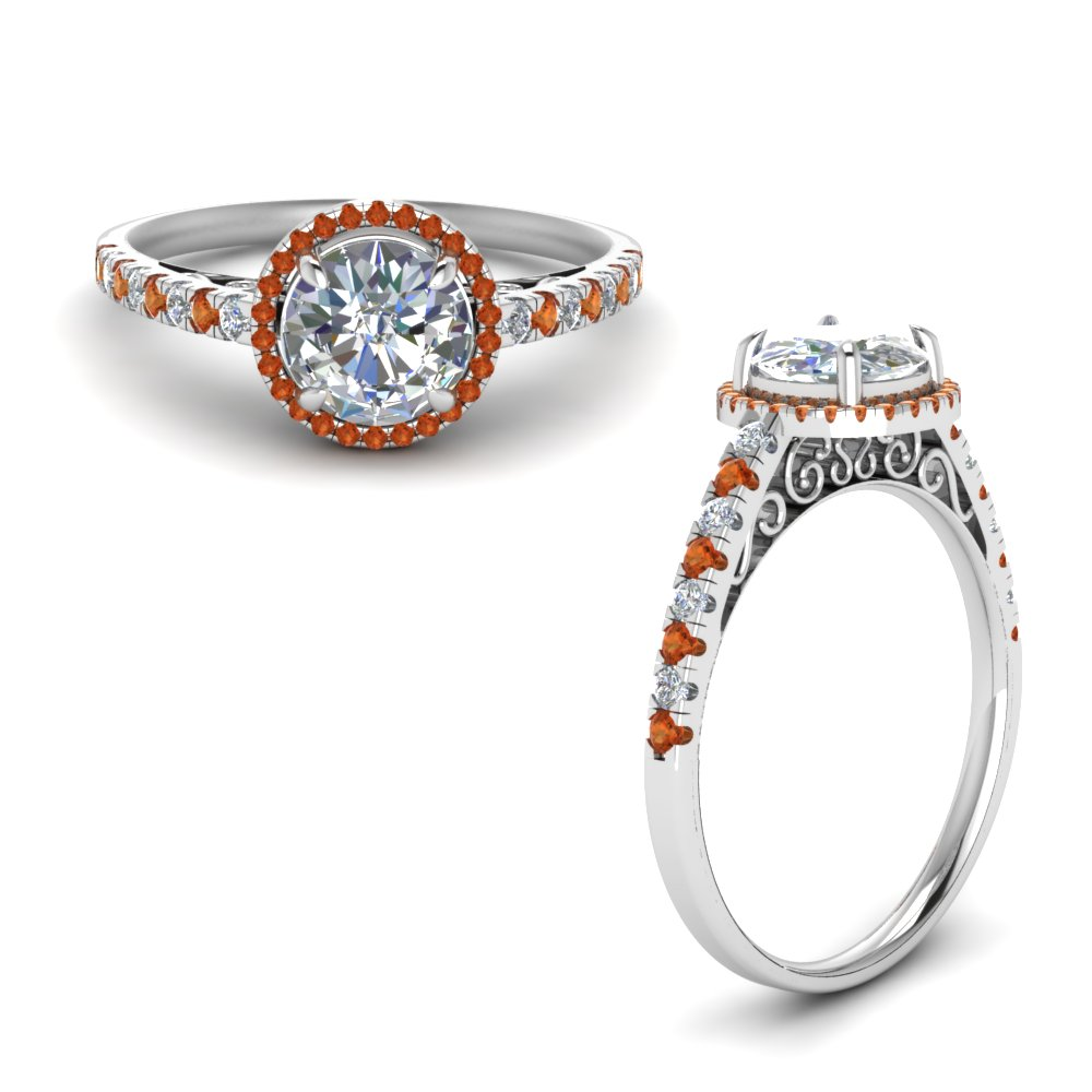 Vintage Delicate Orange Sapphire Halo Diamond Engagement Ring In 18K White Gold