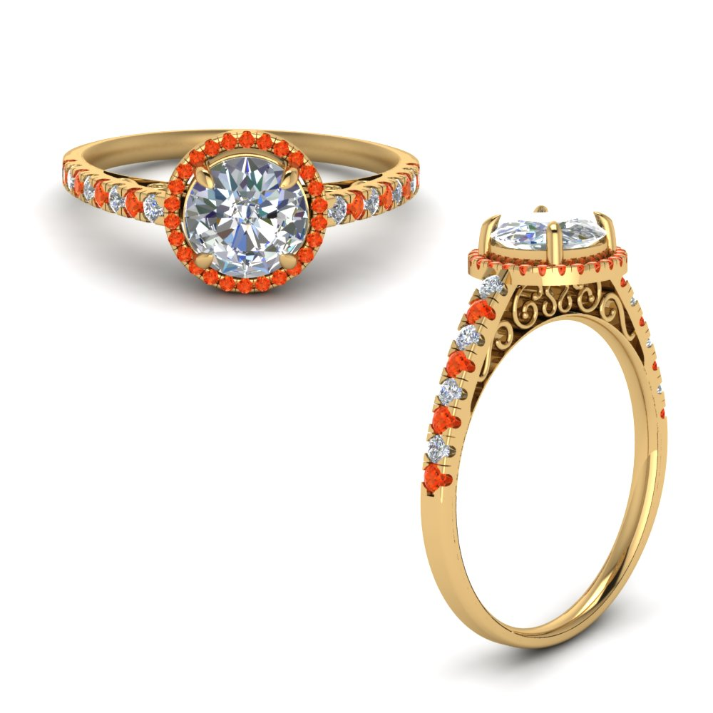 Vintage Delicate Orange Topaz Halo Diamond Engagement Ring In 14K Yellow Gold