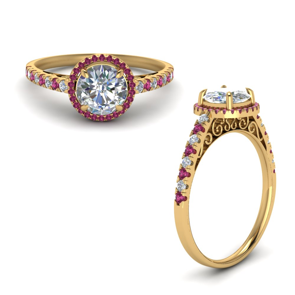 Vintage Delicate Pink Sapphire Halo Diamond Engagement Ring In 14K Yellow Gold