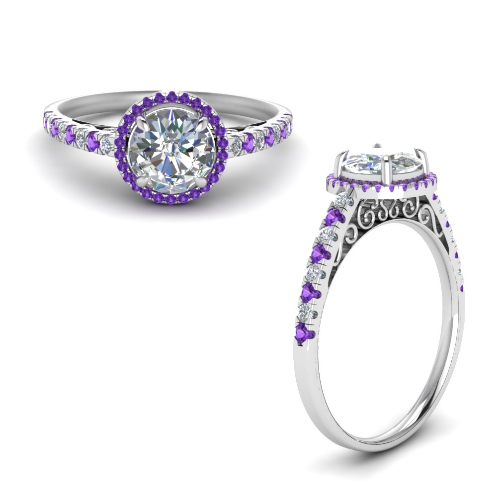 Vintage Delicate Purple Topaz Halo Diamond Engagement Ring In 14K White Gold