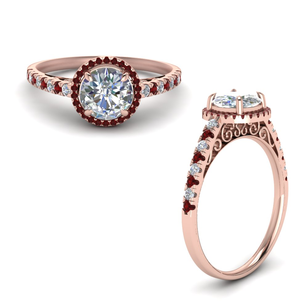 Vintage Delicate Ruby Halo Diamond Engagement Ring In 18K Rose Gold