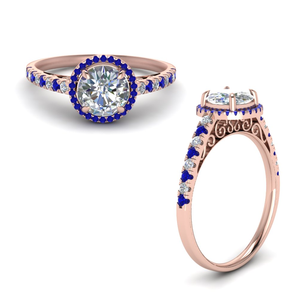 Vintage Delicate Sapphire Halo Diamond Engagement Ring In 14K Rose Gold