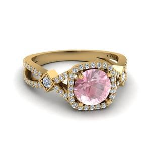 Vintage Square Halo Morganite Ring