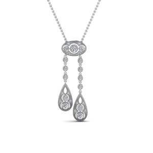 Vintage Diamond Dual Drop Pendant In 14K White Gold