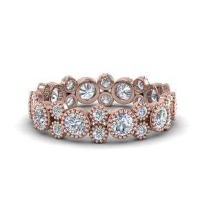 Vintage Diamond Eternity Ring In 14K Rose Gold