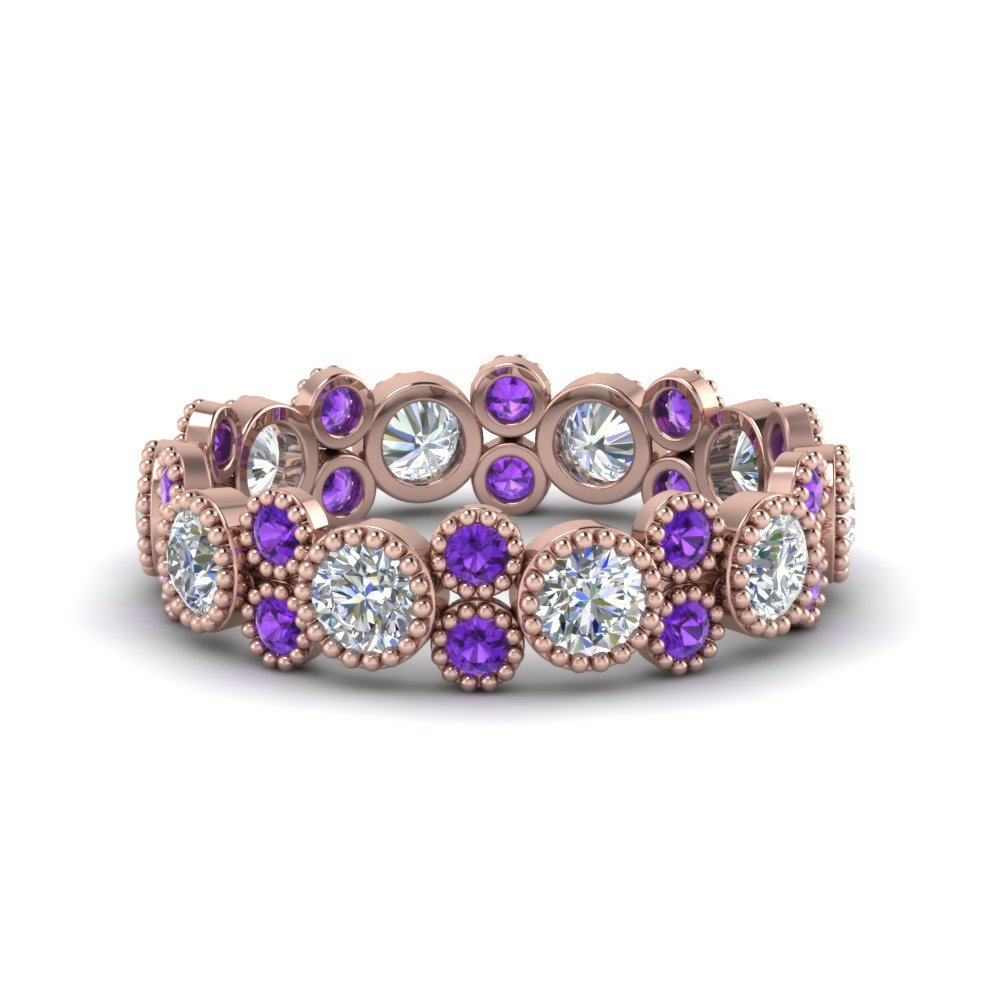 Violet Topaz Vintage Diamond Band