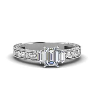 Vintage Emerald Cut With Baguette Diamond Engagement Ring In 950 Platinum