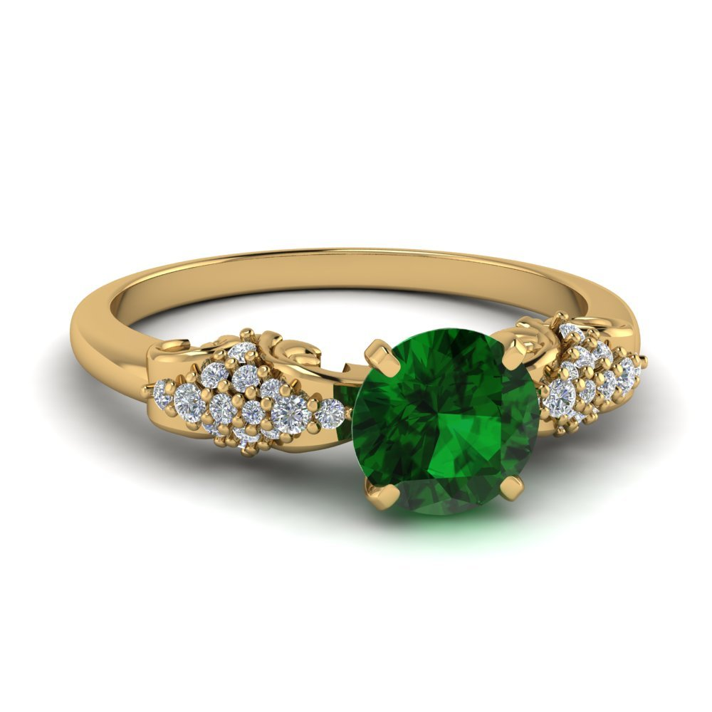 in fd engagement yellow and filigree vintage yg nl gemstone emerald unique rings affordable ring gold diamond round