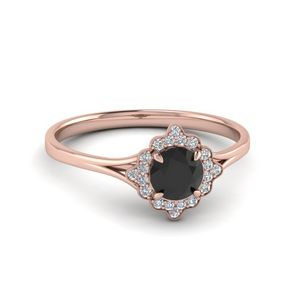 Vintage Black Diamond Halo Ring