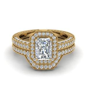 Vintage Halo Radiant Cut Diamond Bridal Ring Set In 18K Yellow Gold