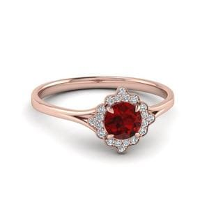 Vintage Halo Ruby Engagement Ring In 14K Rose Gold