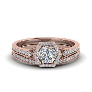 Vintage Hexagon Halo Diamond Bridal Set In 18K Rose Gold