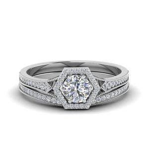 Vintage Hexagon Halo Diamond Bridal Set In 14K White Gold