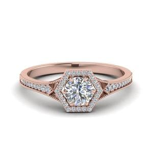 Vintage Hexagon Halo Diamond Engagement Ring In 14K Rose Gold