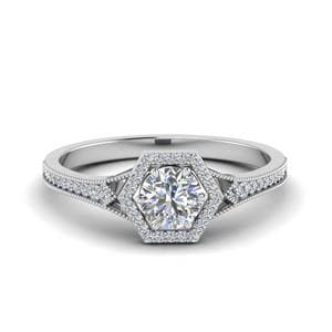 Vintage Hexagon Halo Diamond Engagement Ring In 14K White Gold