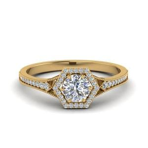 Vintage Hexagon Halo Diamond Engagement Ring In 14K Yellow Gold