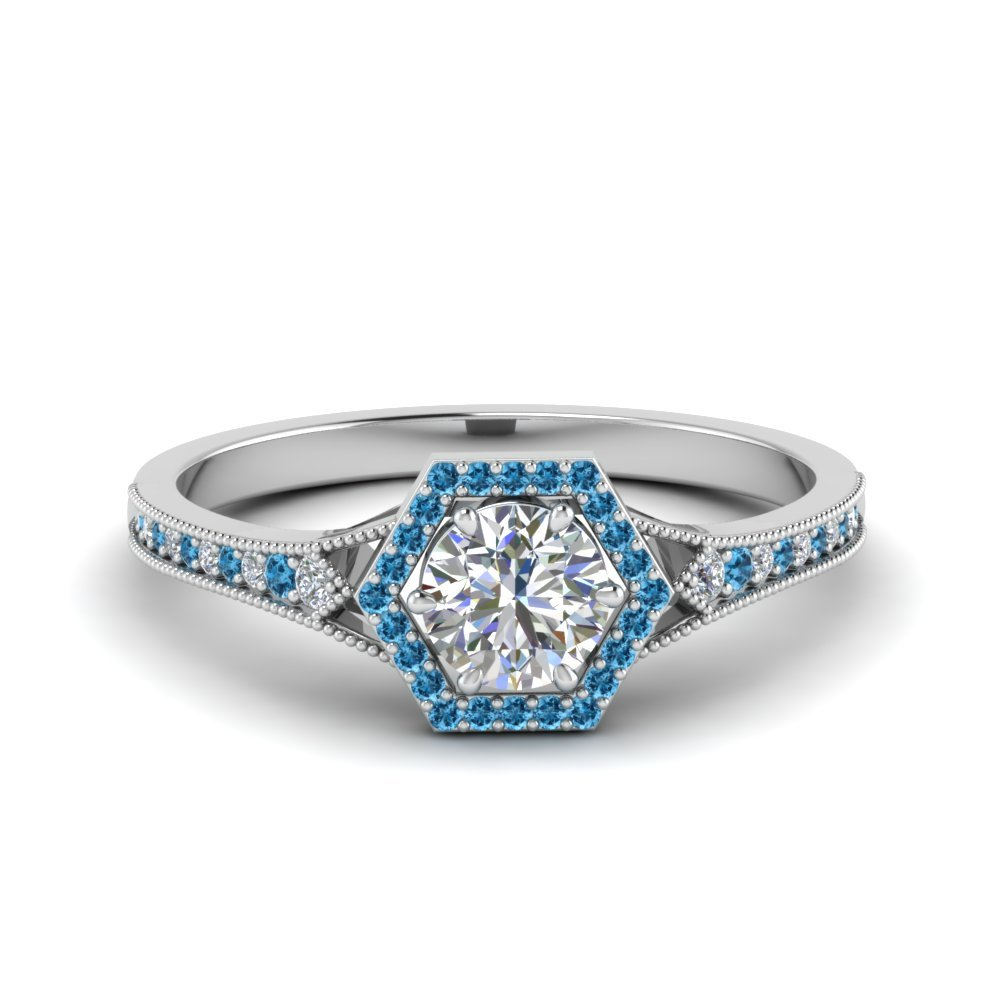 Hexagon Halo Ring With Blue Topaz