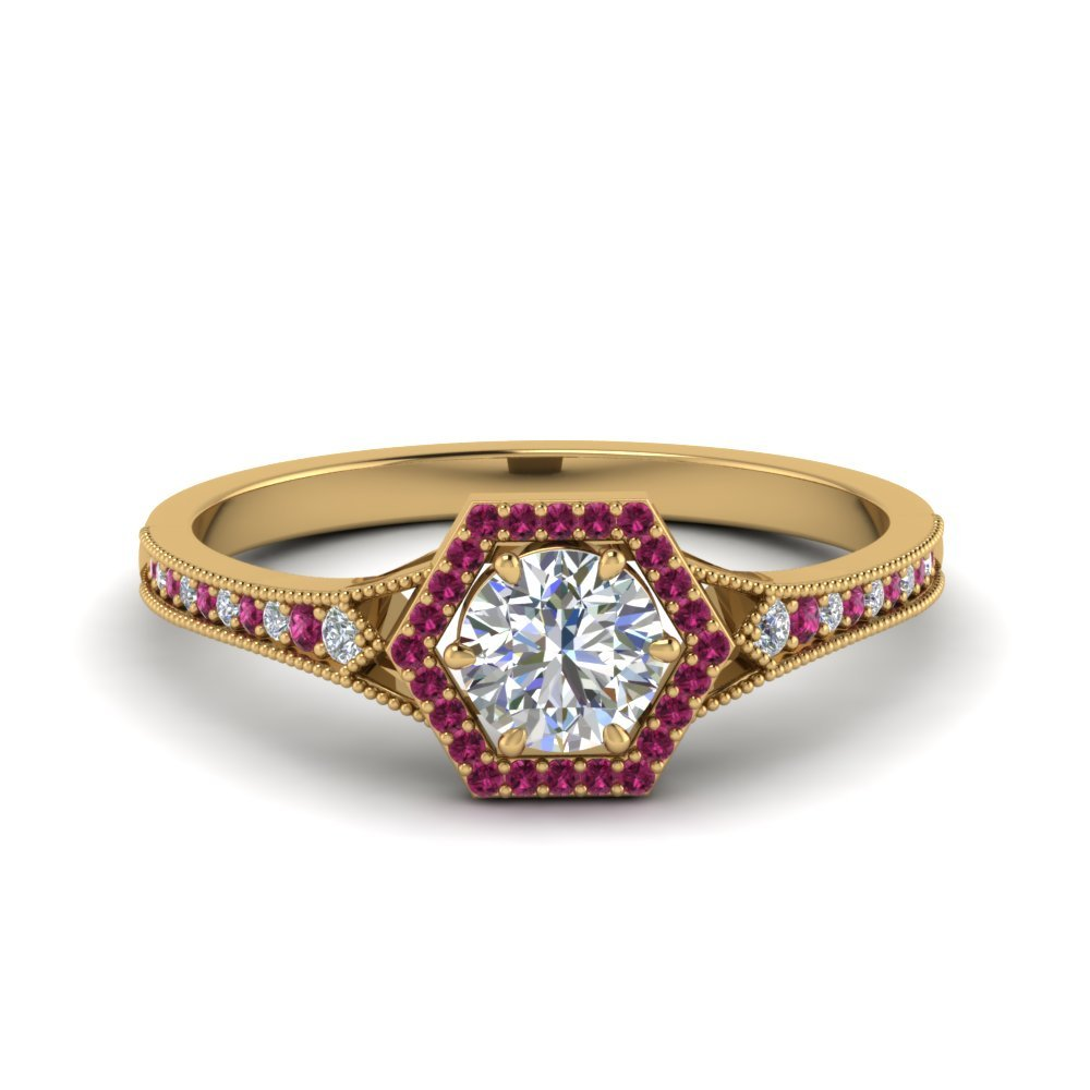 Pink Sapphire Vintage Hexagon Ring