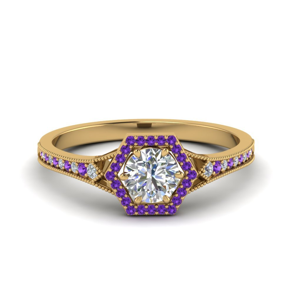 Purple Topaz Halo Hexagon Ring