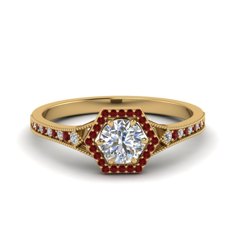 Milgrain Hexagon Halo Ruby Ring