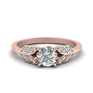 Vintage Leaf Design Round Cut Diamond Engagement Ring In 14K Rose Gold