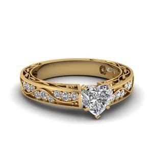 Vintage Looking Heart Shaped Diamond Ring