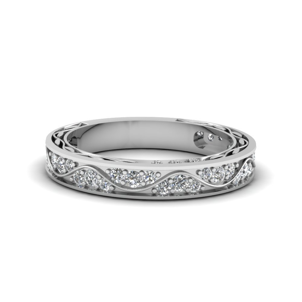 Vintage Looking Pave Diamond Wedding Ring For Women In 14K White Gold