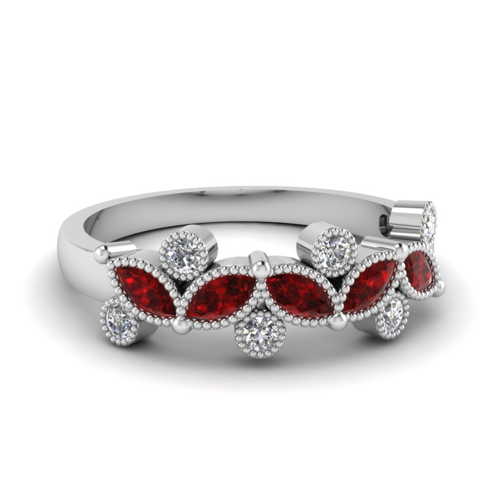 Ruby Vintage Round and Marquise Band