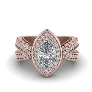 Vintage Marquise Halo Diamond Engagement Ring In 14K Rose Gold