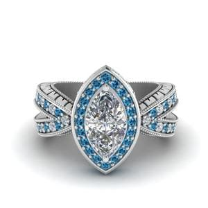 Vintage Marquise Halo Diamond Engagement Ring With Blue Topaz In 950 Platinum