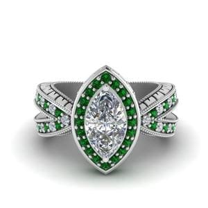Vintage Marquise Halo Diamond Engagement Ring With Emerald In 18K White Gold