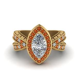 Vintage Marquise Halo Diamond Engagement Ring With Orange Sapphire In 14K Yellow Gold