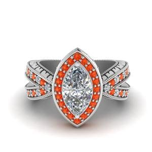 Vintage Marquise Halo Diamond Engagement Ring With Orange Topaz In 14K White Gold