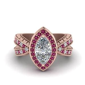 Vintage Marquise Halo Diamond Engagement Ring With Pink Sapphire In 14K Rose Gold