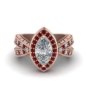 Vintage Marquise Halo Diamond Engagement Ring With Ruby In 18K Rose Gold