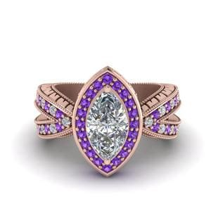 Vintage Marquise Halo Diamond Engagement Ring With Violet Topaz In 14K Rose Gold