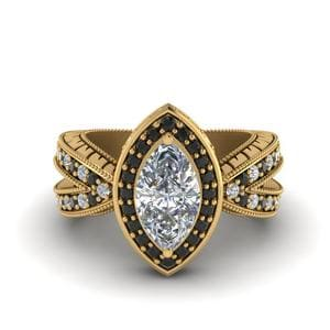 Vintage Marquise Halo Engagement Ring With Black Diamond In 18K Yellow Gold