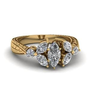 Vintage Marquise Petal Diamond Engagement Ring In 14K Yellow Gold