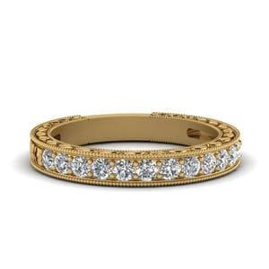 Vintage Pave Diamond Wedding Band In 14K Yellow Gold