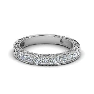 Vintage Pave Round Diamond Women Band In 14K White Gold