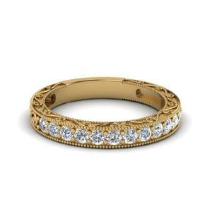 Vintage Pave Round Diamond Women Band In 14K Yellow Gold