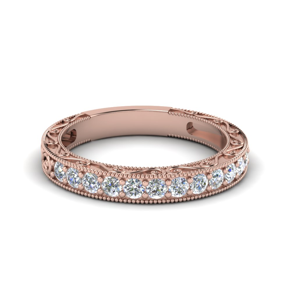 Vintage Pave Round Diamond Women Band In 18K Rose Gold