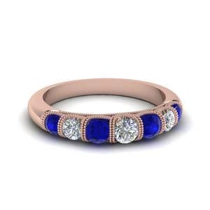 Vintage Seven Stone Diamond Womens Wedding Band With Blue Sapphire In 14K Rose Gold