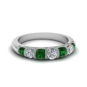 Vintage Seven Stone Diamond Womens Wedding Band With Emerald In 18K White Gold