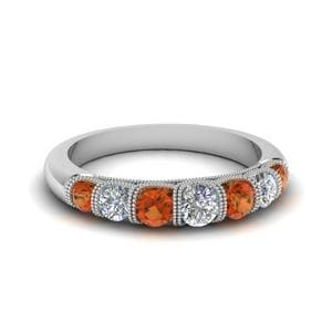 Vintage Seven Stone Diamond Womens Wedding Band With Orange Sapphire In 14K White Gold