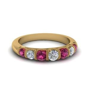 Vintage Seven Stone Diamond Womens Wedding Band With Pink Sapphire In 14K Yellow Gold