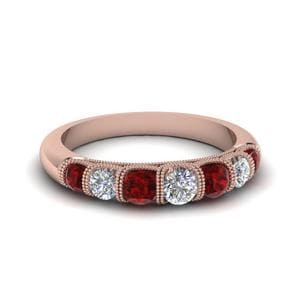 Vintage Seven Stone Diamond Womens Wedding Band With Ruby In 18K Rose Gold