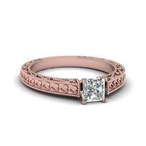Vintage Solitaire Engraved Princess Cut Engagement Ring In 14K Rose Gold