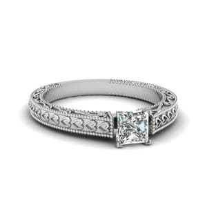 Vintage Solitaire Engraved Princess Cut Engagement Ring In 14K White Gold