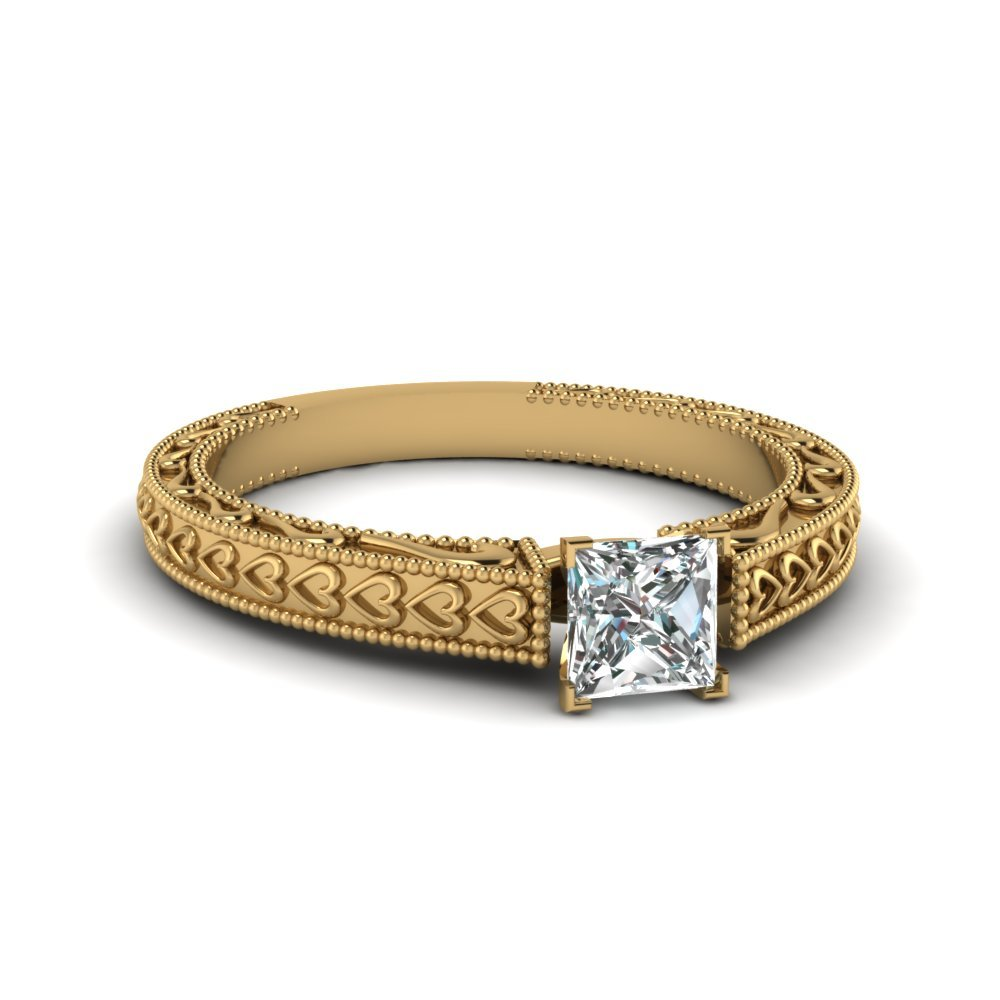 Vintage Solitaire Engraved Princess Cut Engagement Ring In 14K Yellow Gold